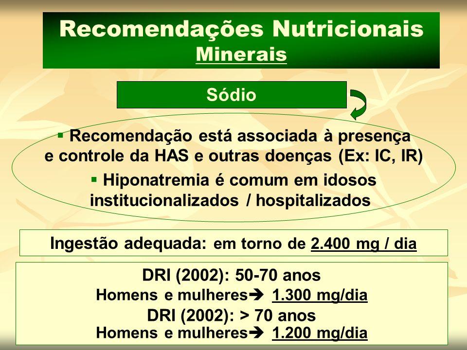 Sódio Recomendações Nutricionais Minerais Recomendação está associada à presença e controle da HAS e outras doenças (Ex: IC, IR) Hiponatremia é comum