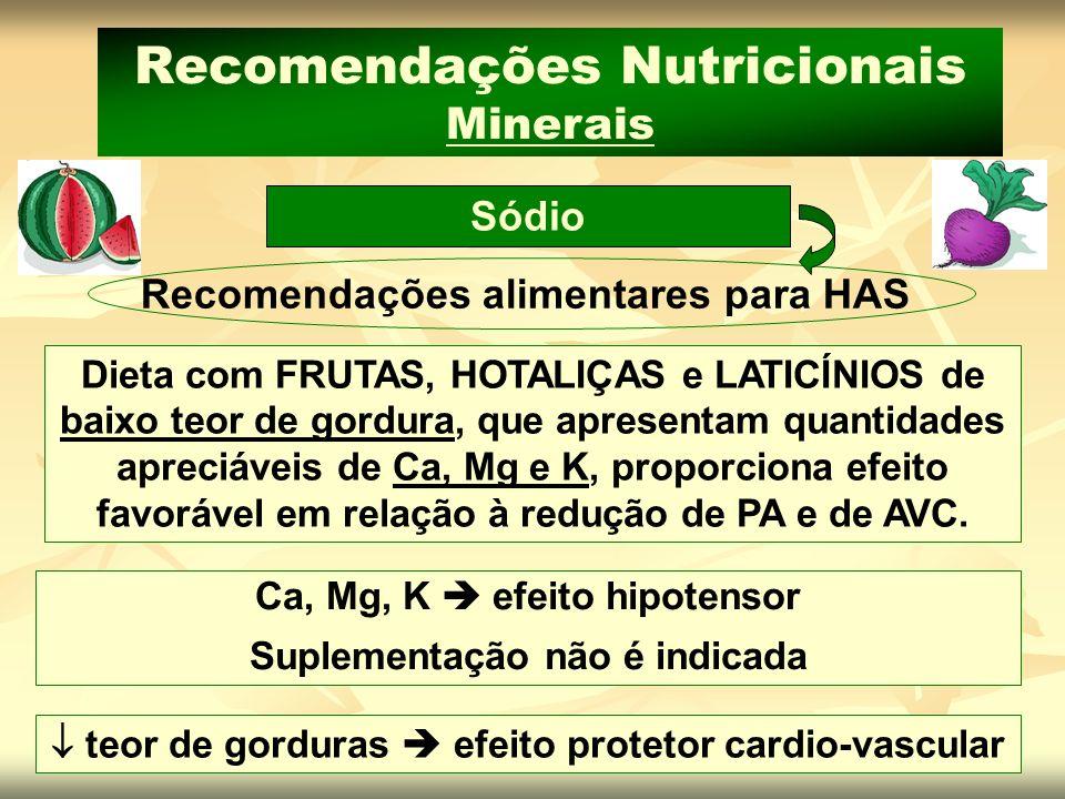 Ca, Mg, K efeito hipotensor Suplementação não é indicada teor de gorduras efeito protetor cardio-vascular Sódio Recomendações Nutricionais Minerais Re