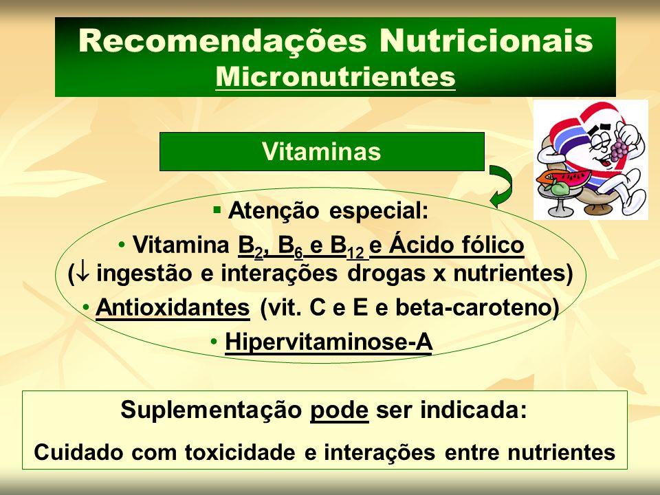 Vitaminas Recomendações Nutricionais Micronutrientes Atenção especial: Vitamina B 2, B 6 e B 12 e Ácido fólico ( ingestão e interações drogas x nutrie
