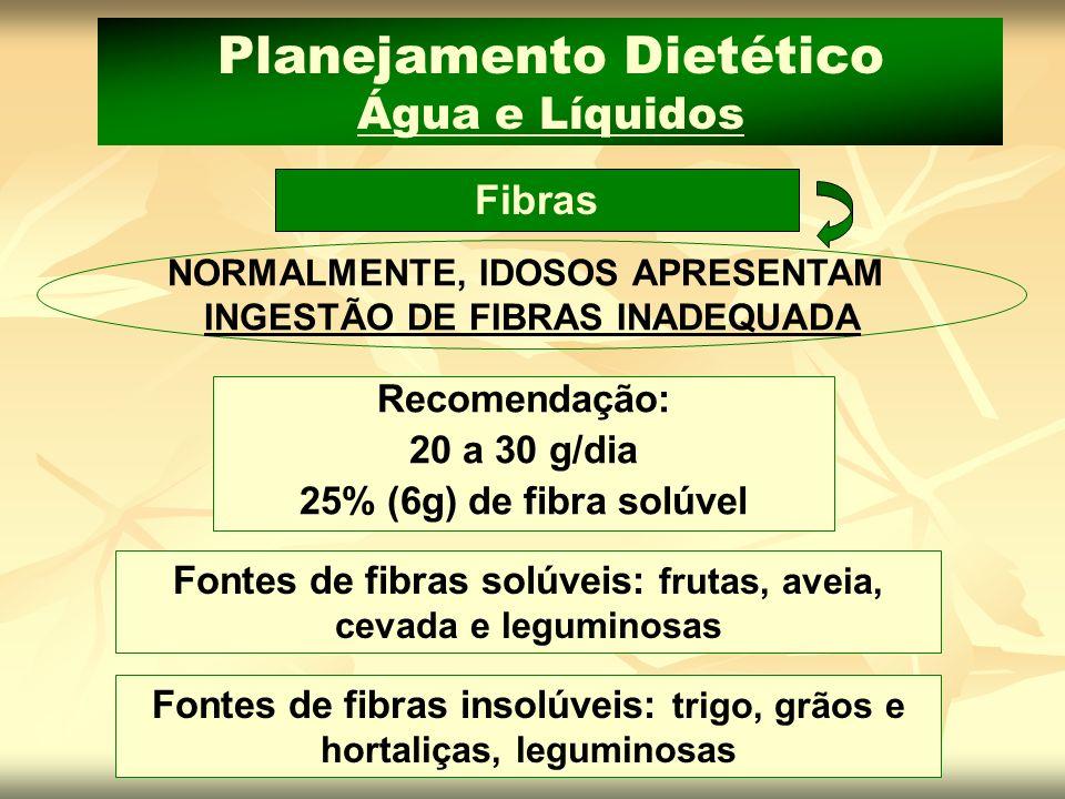 Planejamento Dietético Água e Líquidos Fibras NORMALMENTE, IDOSOS APRESENTAM INGESTÃO DE FIBRAS INADEQUADA Recomendação: 20 a 30 g/dia 25% (6g) de fib