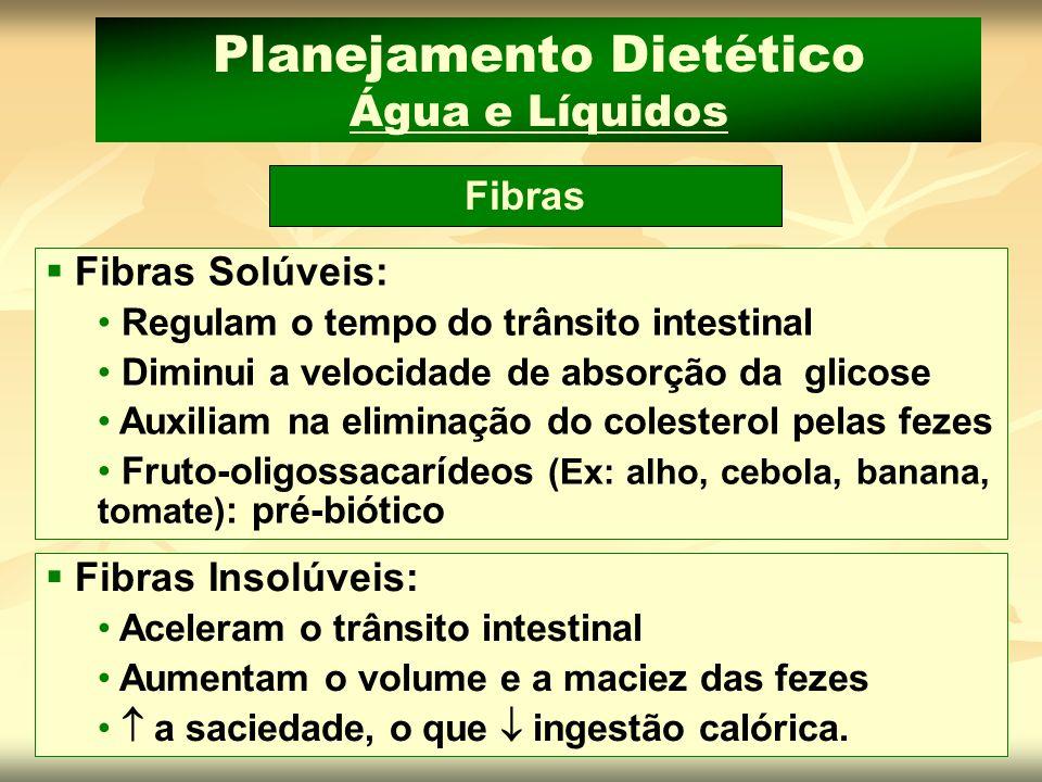 Planejamento Dietético Água e Líquidos Fibras Fibras Solúveis: Regulam o tempo do trânsito intestinal Diminui a velocidade de absorção da glicose Auxi