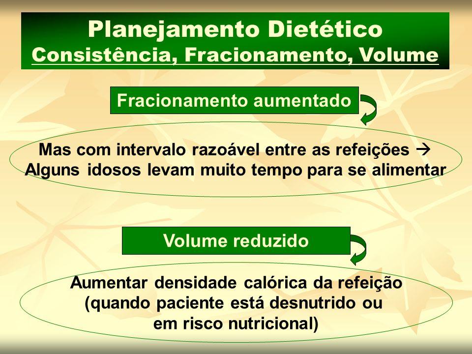 Planejamento Dietético Consistência, Fracionamento, Volume Fracionamento aumentado Mas com intervalo razoável entre as refeições Alguns idosos levam m