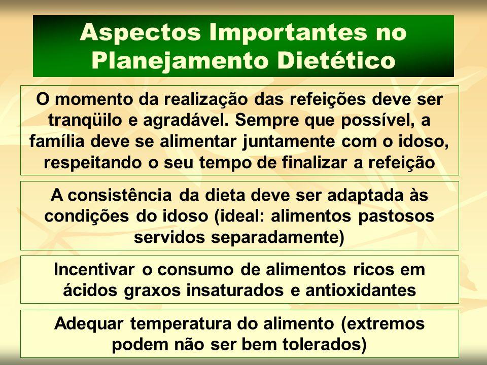 Aspectos Importantes no Planejamento Dietético O momento da realização das refeições deve ser tranqüilo e agradável. Sempre que possível, a família de