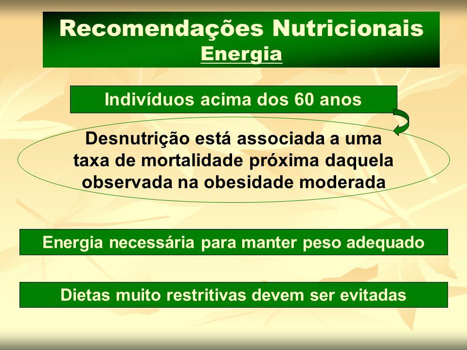 Energia necessária para manter peso adequado Dietas muito restritivas devem ser evitadas Recomendações Nutricionais Energia Indivíduos acima dos 60 an