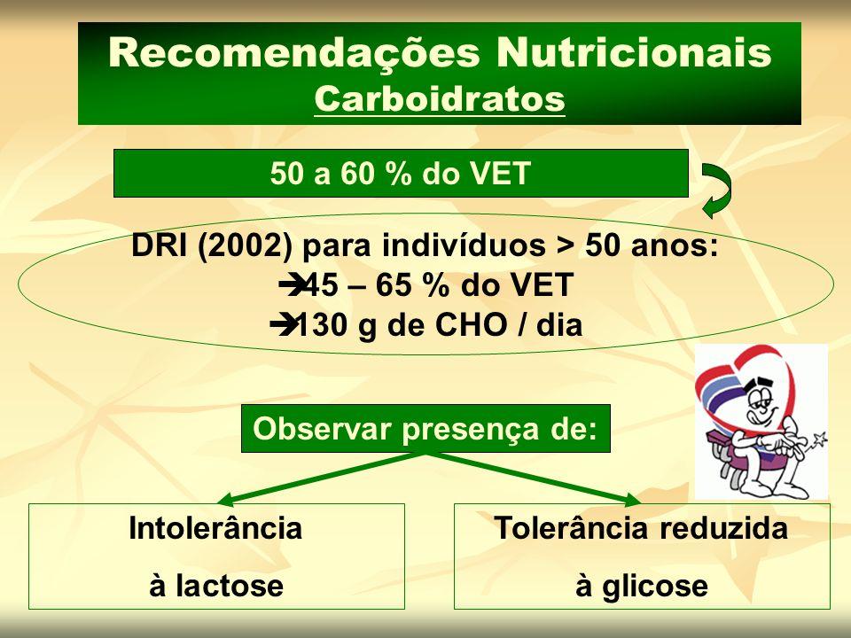 50 a 60 % do VET Recomendações Nutricionais Carboidratos DRI (2002) para indivíduos > 50 anos: 45 – 65 % do VET 130 g de CHO / dia Intolerância à lact