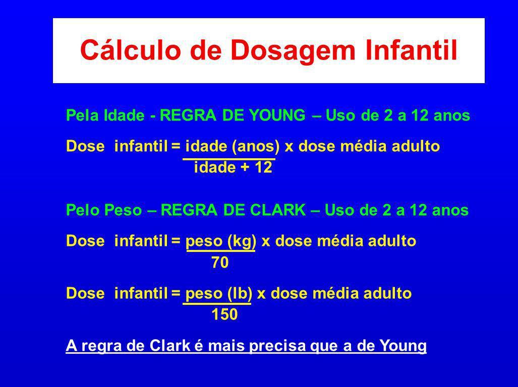Cálculo de Dosagem Infantil Pela Idade - REGRA DE YOUNG – Uso de 2 a 12 anos Dose infantil = idade (anos) x dose média adulto idade + 12 Pelo Peso – R