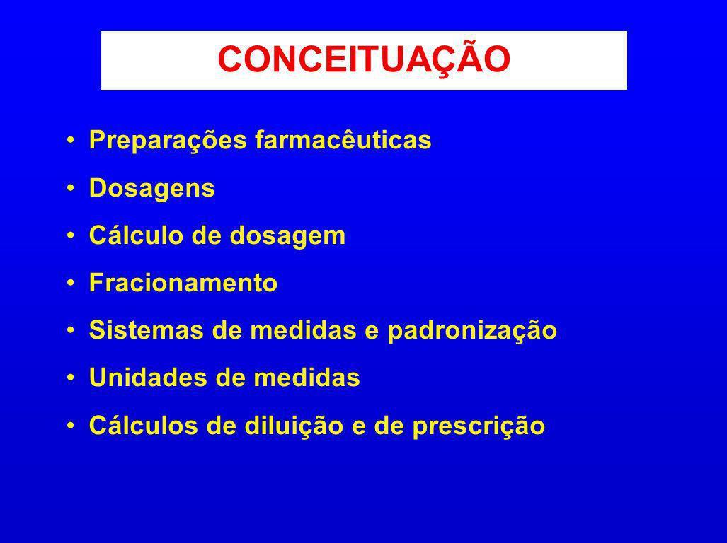 Preparações farmacêuticas Dosagens Cálculo de dosagem Fracionamento Sistemas de medidas e padronização Unidades de medidas Cálculos de diluição e de p