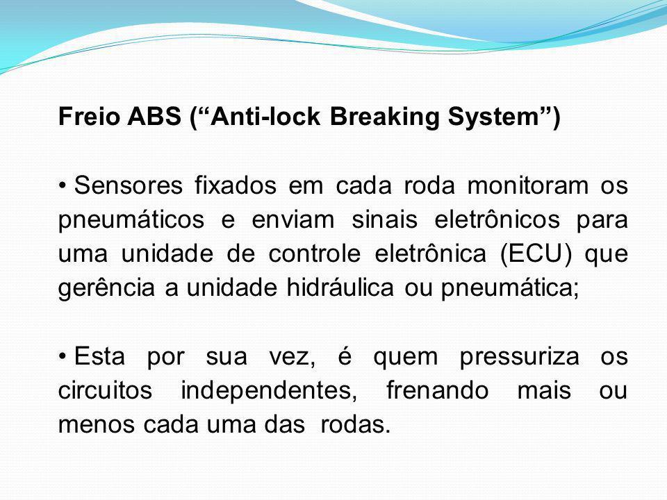 Freio ABS (Anti-lock Breaking System) Sensores fixados em cada roda monitoram os pneumáticos e enviam sinais eletrônicos para uma unidade de controle