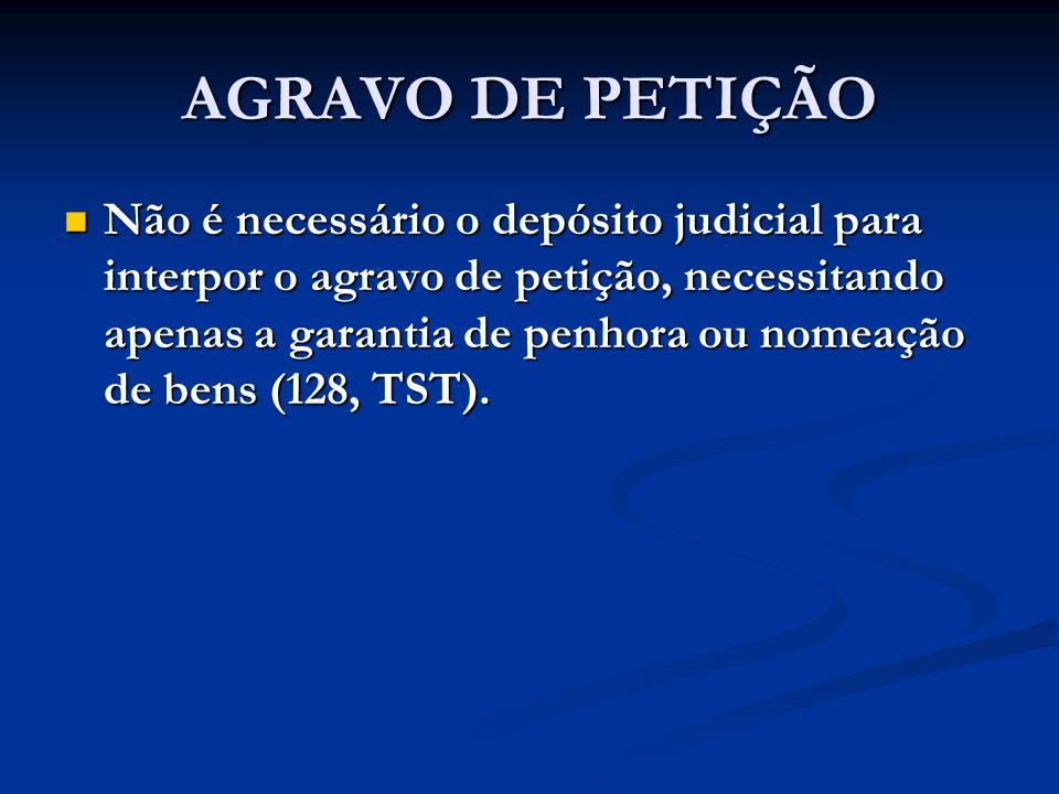 AGRAVO DE PETIÇÃO Não é necessário o depósito judicial para interpor o agravo de petição, necessitando apenas a garantia de penhora ou nomeação de ben
