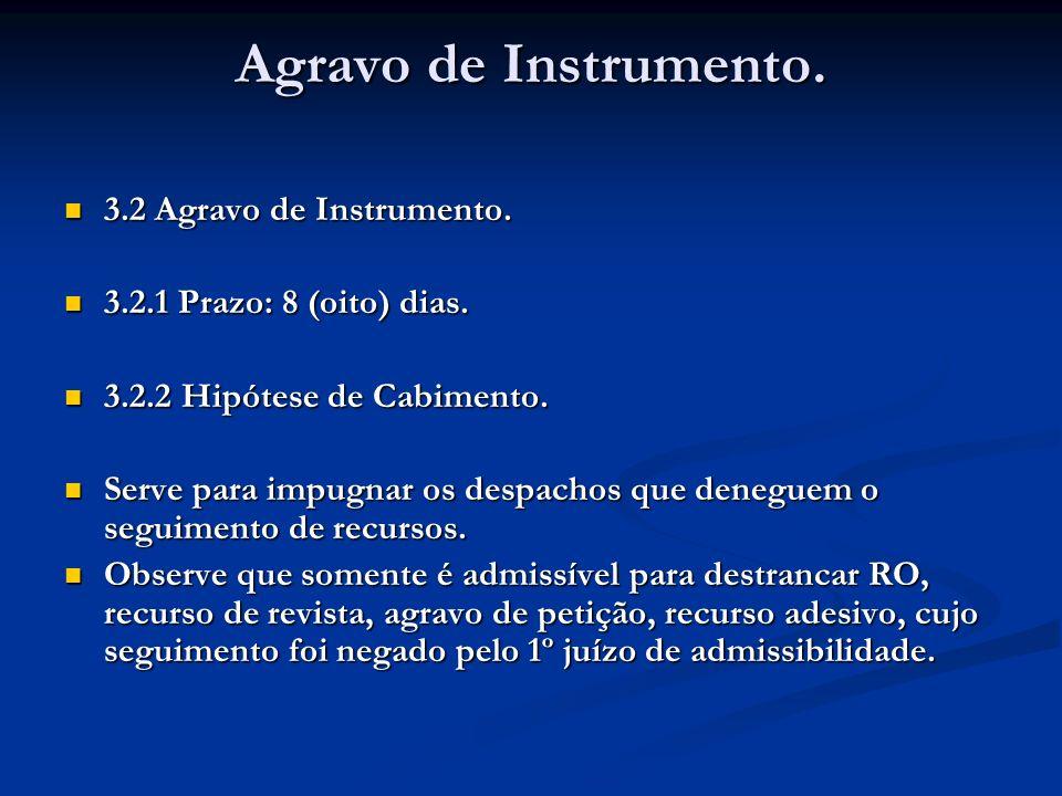 Agravo de Instrumento. 3.2 Agravo de Instrumento. 3.2 Agravo de Instrumento. 3.2.1 Prazo: 8 (oito) dias. 3.2.1 Prazo: 8 (oito) dias. 3.2.2 Hipótese de