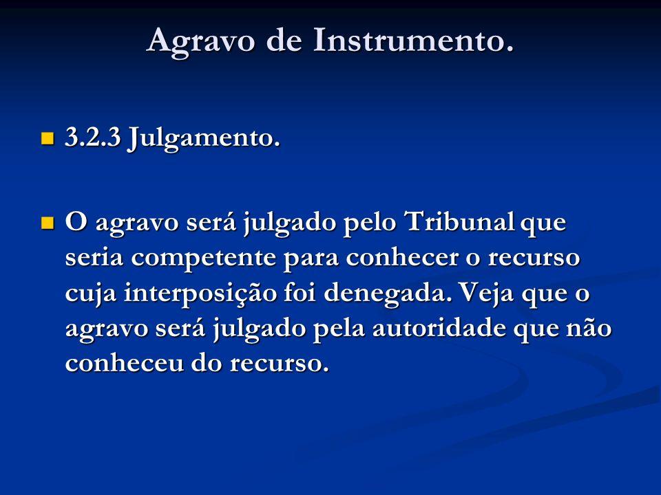 Agravo de Instrumento. 3.2.3 Julgamento. 3.2.3 Julgamento. O agravo será julgado pelo Tribunal que seria competente para conhecer o recurso cuja inter