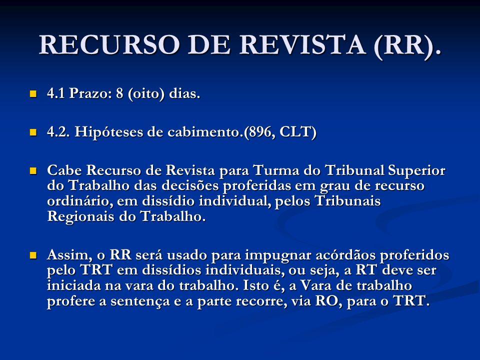RECURSO DE REVISTA (RR). 4.1 Prazo: 8 (oito) dias. 4.1 Prazo: 8 (oito) dias. 4.2. Hipóteses de cabimento.(896, CLT) 4.2. Hipóteses de cabimento.(896,