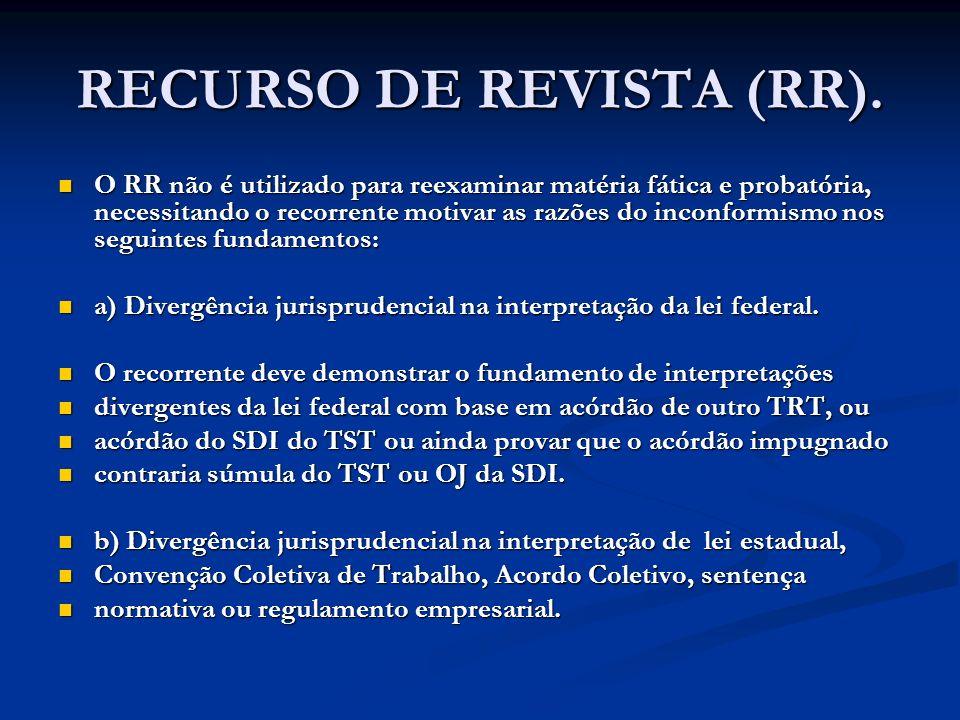 RECURSO DE REVISTA (RR). O RR não é utilizado para reexaminar matéria fática e probatória, necessitando o recorrente motivar as razões do inconformism