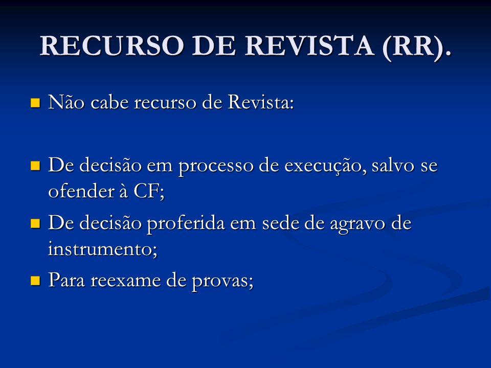 RECURSO DE REVISTA (RR). Não cabe recurso de Revista: Não cabe recurso de Revista: De decisão em processo de execução, salvo se ofender à CF; De decis