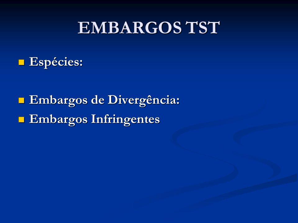 EMBARGOS TST Espécies: Espécies: Embargos de Divergência: Embargos de Divergência: Embargos Infringentes Embargos Infringentes