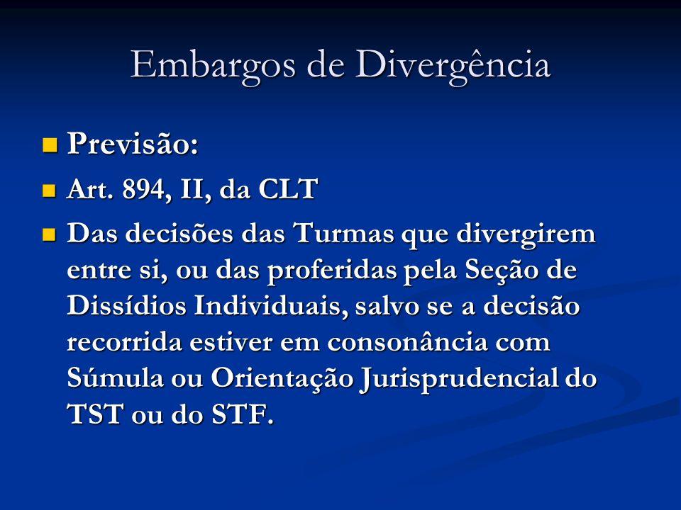 Embargos de Divergência Previsão: Previsão: Art. 894, II, da CLT Art. 894, II, da CLT Das decisões das Turmas que divergirem entre si, ou das proferid