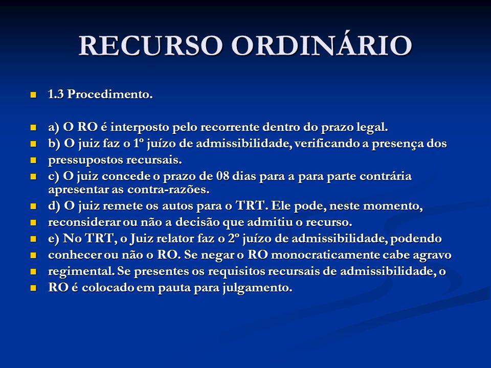 RECURSO ORDINÁRIO 1.3 Procedimento. 1.3 Procedimento. a) O RO é interposto pelo recorrente dentro do prazo legal. a) O RO é interposto pelo recorrente