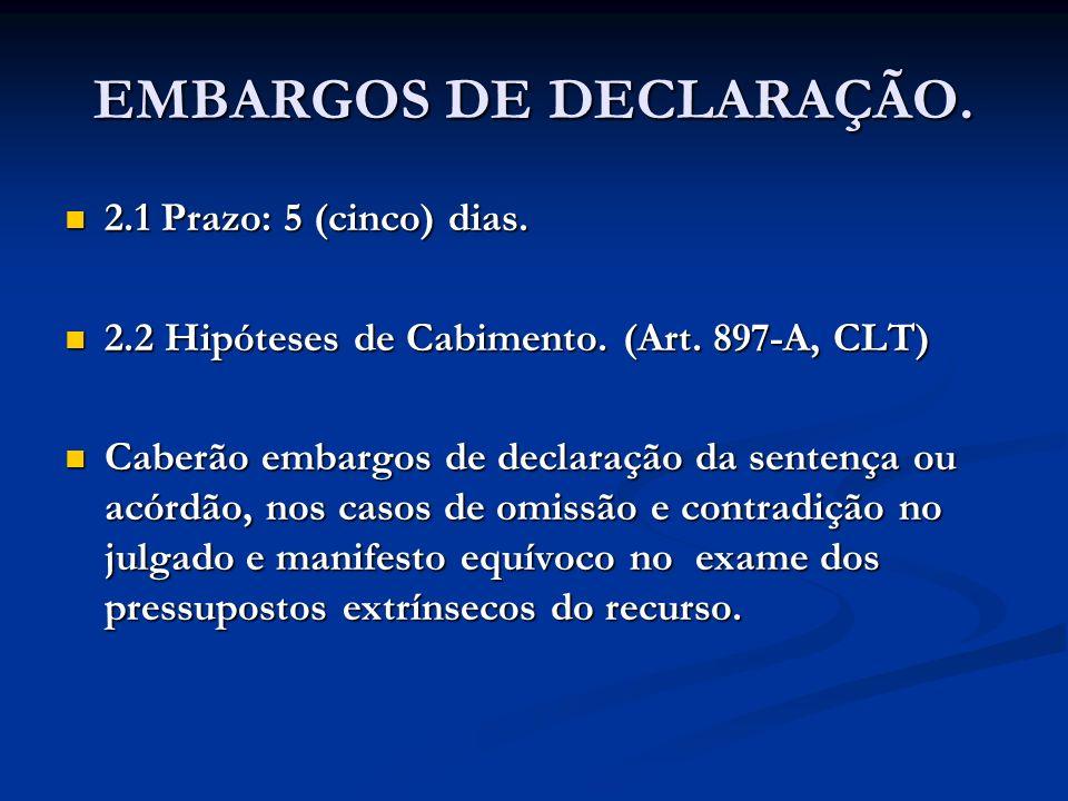 EMBARGOS DE DECLARAÇÃO. 2.1 Prazo: 5 (cinco) dias. 2.1 Prazo: 5 (cinco) dias. 2.2 Hipóteses de Cabimento. (Art. 897-A, CLT) 2.2 Hipóteses de Cabimento