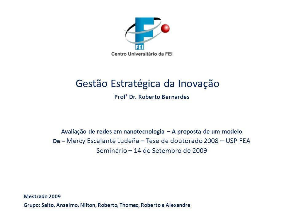 Avaliação de redes em nanotecnologia – A proposta de um modelo Mercy Escalante Ludeña Gestão Estratégica da Inovação Prof º Dr. Roberto Bernardes Aval
