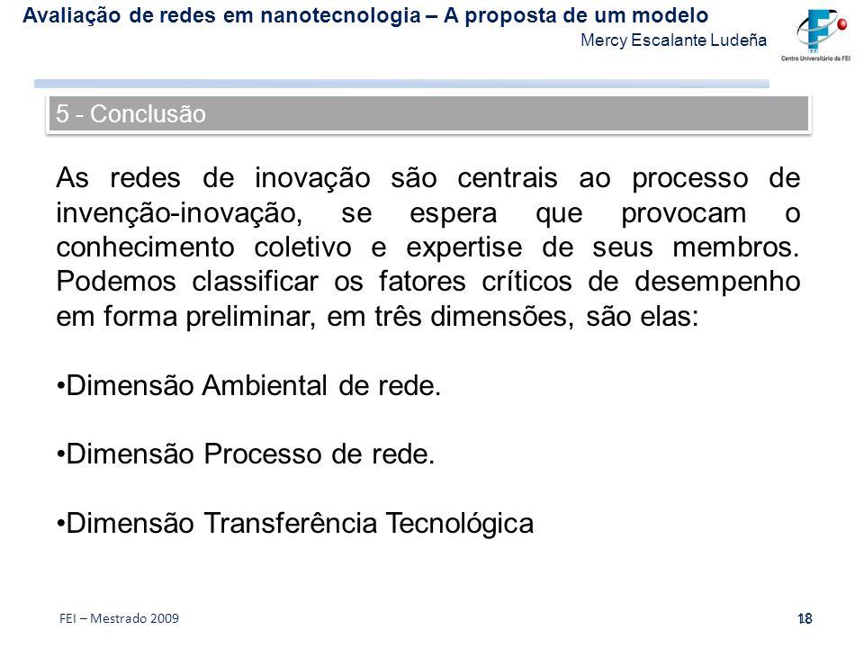 Avaliação de redes em nanotecnologia – A proposta de um modelo Mercy Escalante Ludeña 18 FEI – Mestrado 200918 As redes de inovação são centrais ao pr