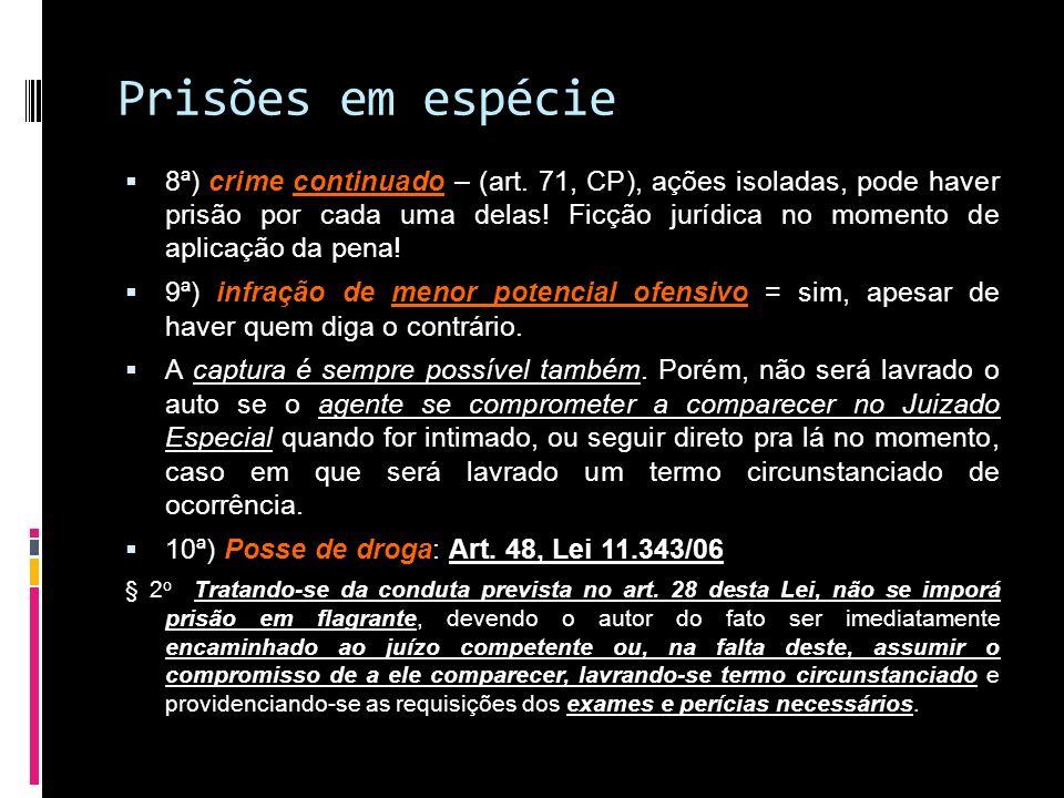 Prisões em espécie 8ª) crime continuado – (art. 71, CP), ações isoladas, pode haver prisão por cada uma delas! Ficção jurídica no momento de aplicação