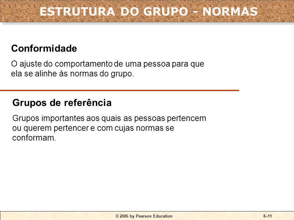 © 2006 by Pearson Education8–10 Classes comuns de normas: Normas de desempenho. Normas de aparência. Normas de organização social. Normas de alocação