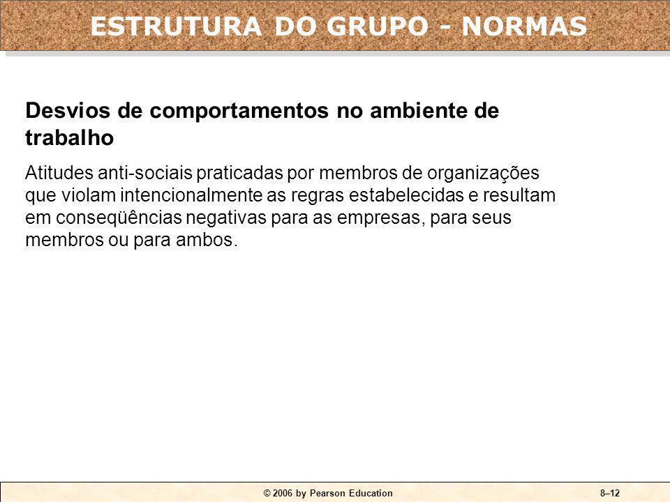© 2006 by Pearson Education8–11 Conformidade O ajuste do comportamento de uma pessoa para que ela se alinhe às normas do grupo. Grupos de referência G