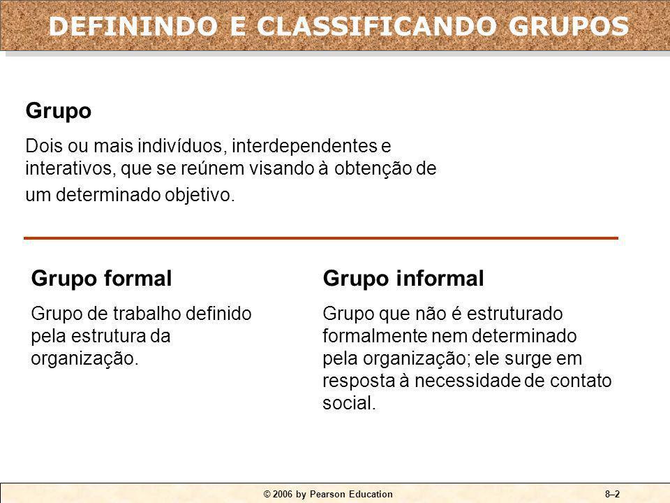 © 2006 by Pearson Education8–1 1.Diferenciar os grupos formais dos informais. 2.Comparar dois modelos de desenvolvimento de grupo. 3.Explicar como as