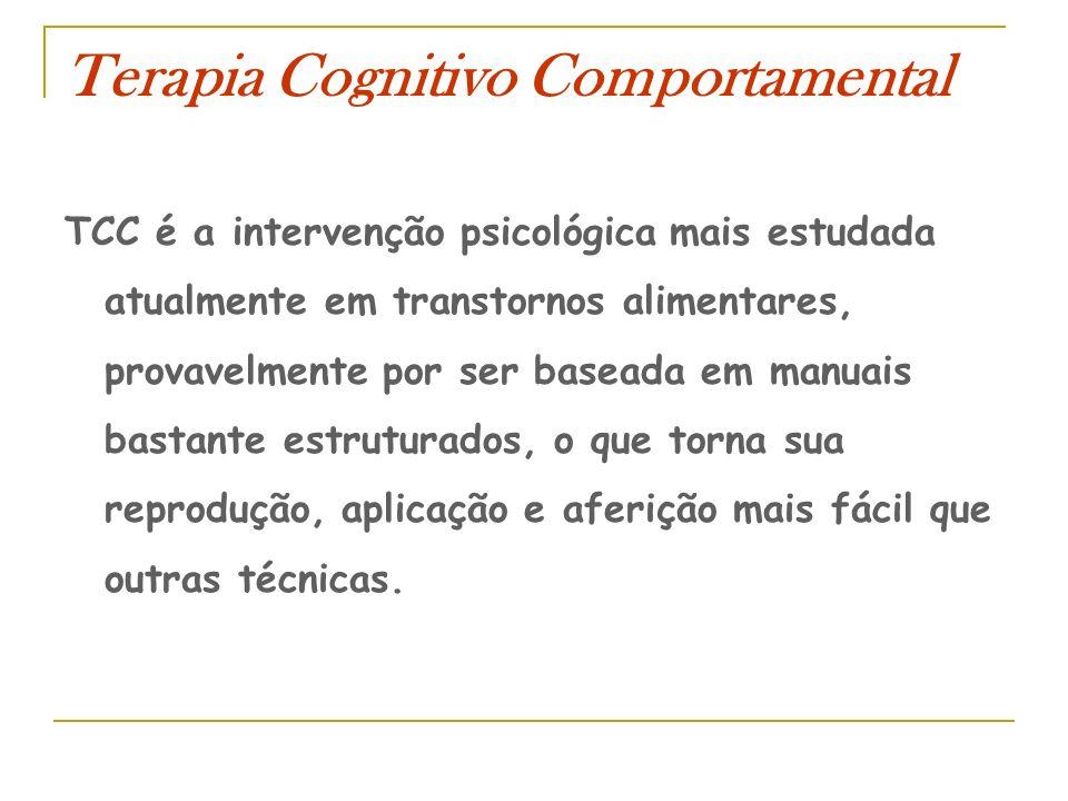 Terapia Cognitivo Comportamental TCC é a intervenção psicológica mais estudada atualmente em transtornos alimentares, provavelmente por ser baseada em