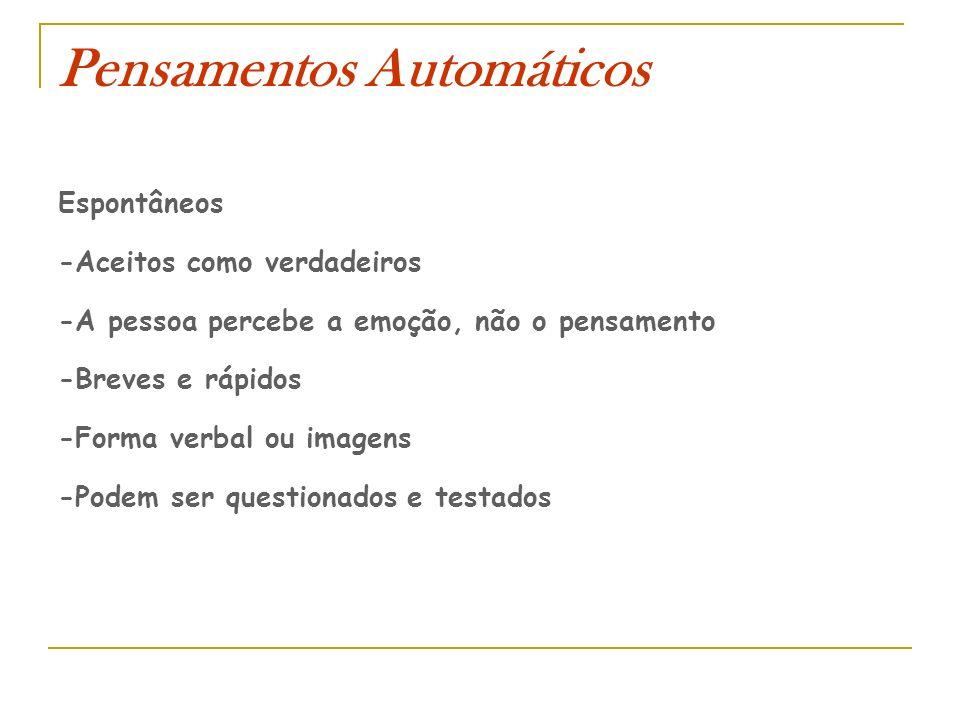 Pensamentos Automáticos Espontâneos -Aceitos como verdadeiros -A pessoa percebe a emoção, não o pensamento -Breves e rápidos -Forma verbal ou imagens