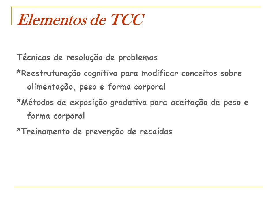 Elementos de TCC Técnicas de resolução de problemas *Reestruturação cognitiva para modificar conceitos sobre alimentação, peso e forma corporal *Métod
