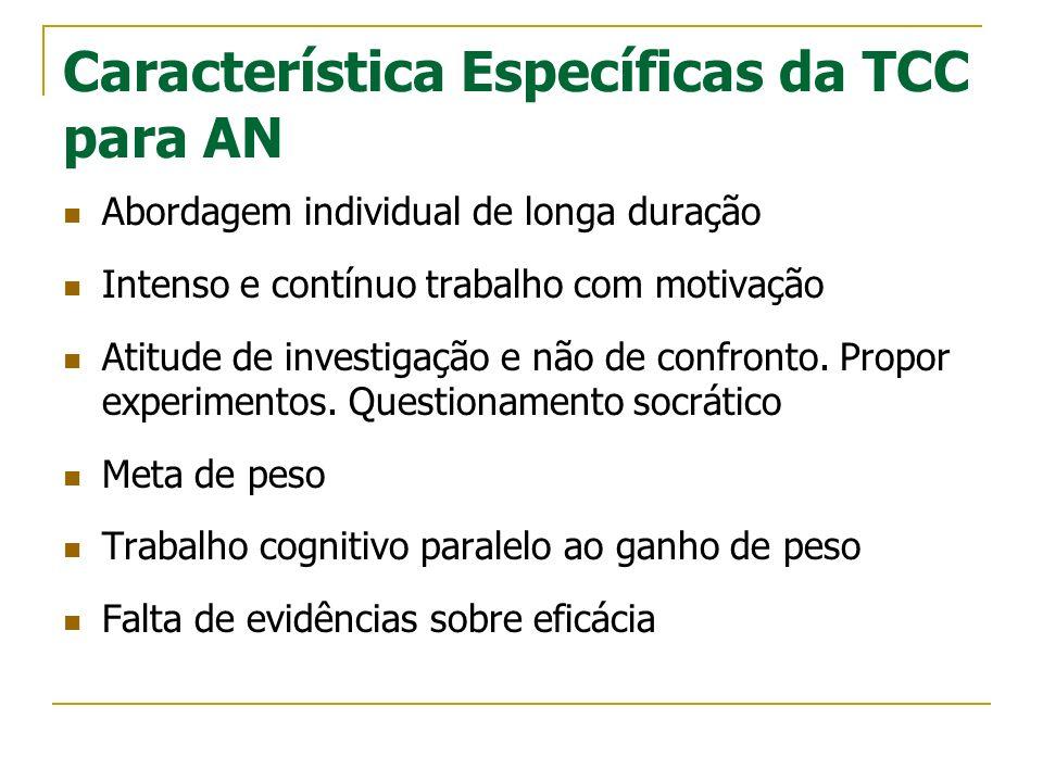 Característica Específicas da TCC para AN Abordagem individual de longa duração Intenso e contínuo trabalho com motivação Atitude de investigação e nã