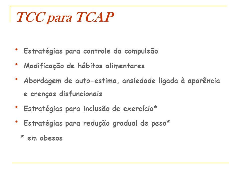 TCC para TCAP Estratégias para controle da compulsão Modificação de hábitos alimentares Abordagem de auto-estima, ansiedade ligada à aparência e crenç