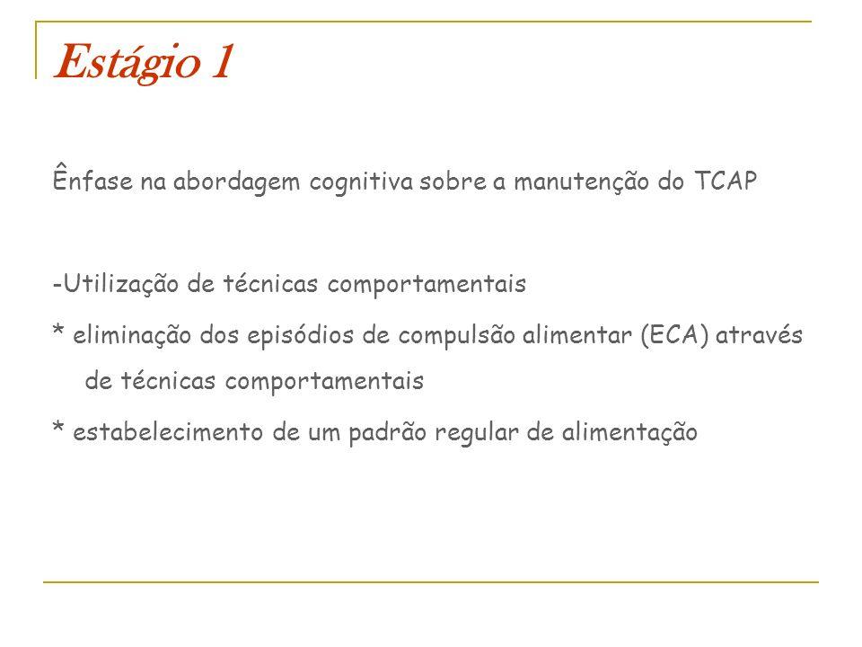 Estágio 1 Ênfase na abordagem cognitiva sobre a manutenção do TCAP -Utilização de técnicas comportamentais * eliminação dos episódios de compulsão ali