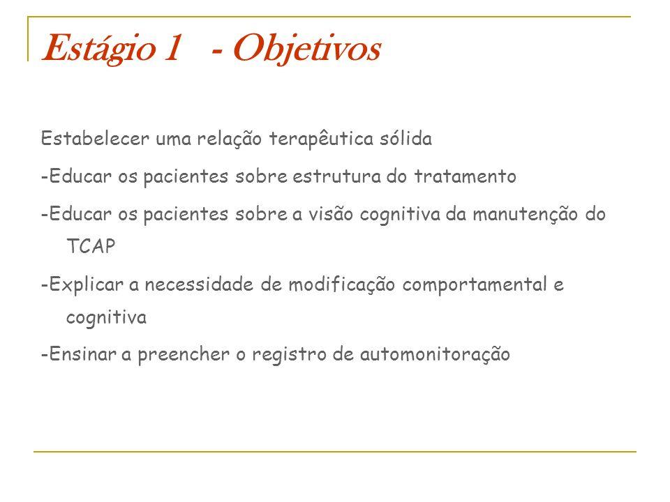 Estágio 1 - Objetivos Estabelecer uma relação terapêutica sólida -Educar os pacientes sobre estrutura do tratamento -Educar os pacientes sobre a visão