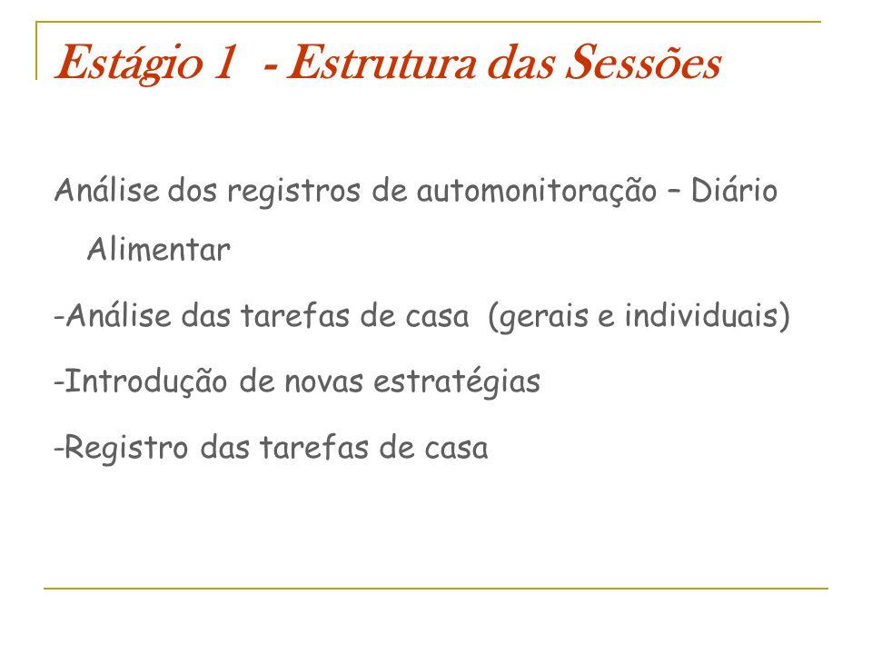 Estágio 1 - Estrutura das Sessões Análise dos registros de automonitoração – Diário Alimentar -Análise das tarefas de casa (gerais e individuais) -Int