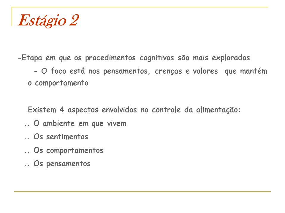 Estágio 2 -Etapa em que os procedimentos cognitivos são mais explorados - O foco está nos pensamentos, crenças e valores que mantém o comportamento Ex