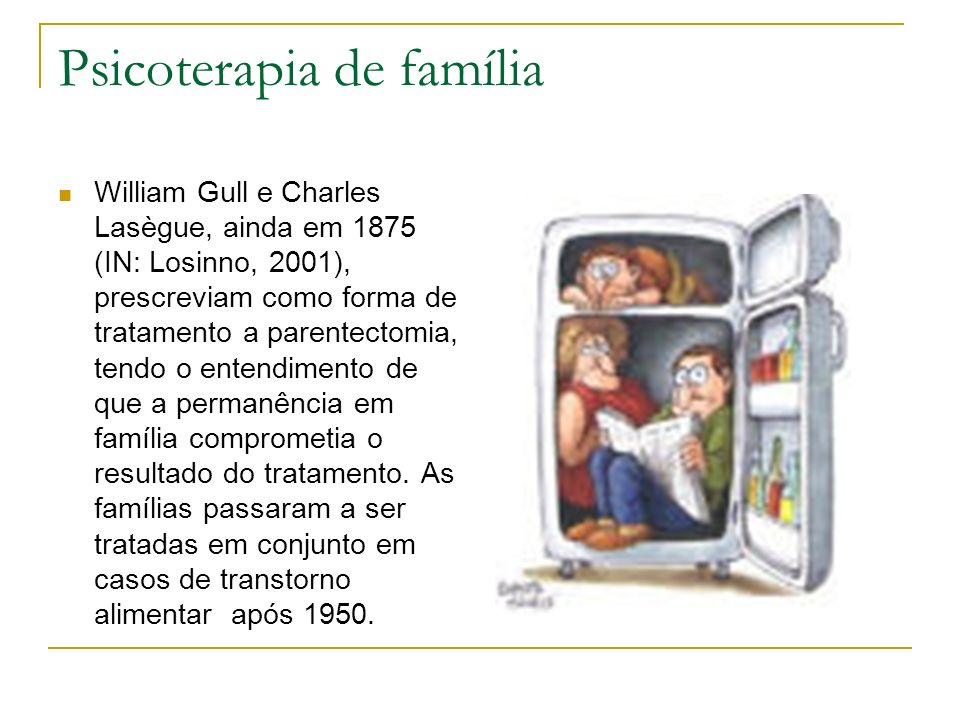 Psicoterapia de família William Gull e Charles Lasègue, ainda em 1875 (IN: Losinno, 2001), prescreviam como forma de tratamento a parentectomia, tendo