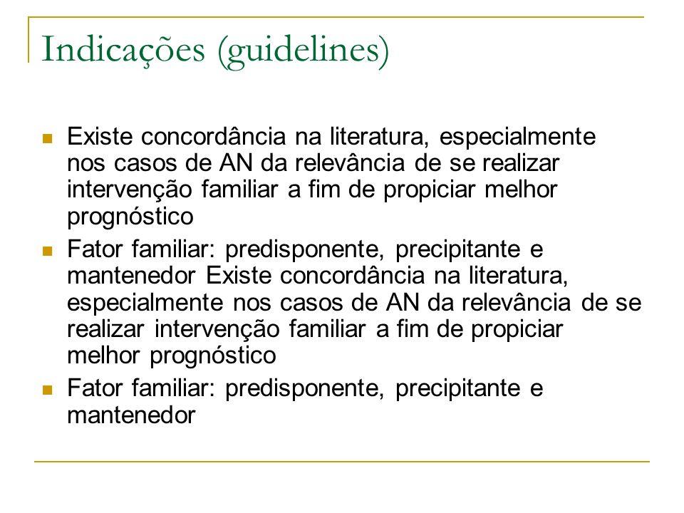 Existe concordância na literatura, especialmente nos casos de AN da relevância de se realizar intervenção familiar a fim de propiciar melhor prognósti