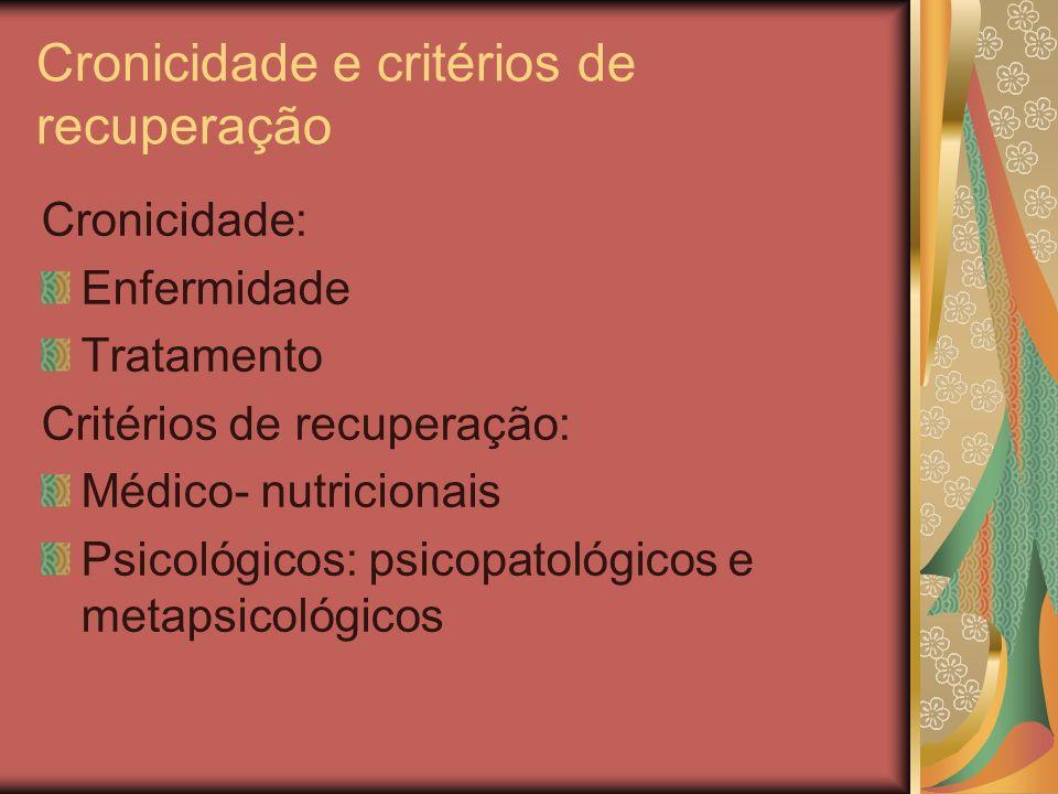 Cronicidade e critérios de recuperação Cronicidade: Enfermidade Tratamento Critérios de recuperação: Médico- nutricionais Psicológicos: psicopatológicos e metapsicológicos