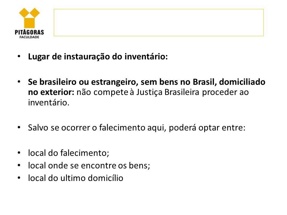 Lugar de instauração do inventário: Se brasileiro ou estrangeiro, sem bens no Brasil, domiciliado no exterior: não compete à Justiça Brasileira proced