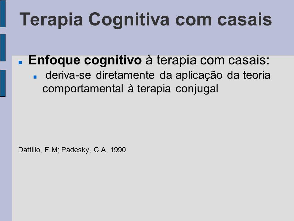 Terapia Cognitiva com casais Enfoque cognitivo à terapia com casais: deriva-se diretamente da aplicação da teoria comportamental à terapia conjugal Da
