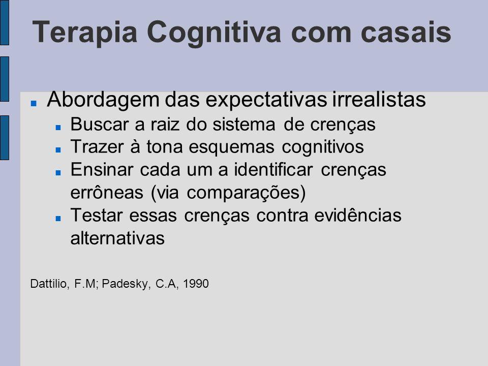 Terapia Cognitiva com casais Abordagem das expectativas irrealistas Buscar a raiz do sistema de crenças Trazer à tona esquemas cognitivos Ensinar cada