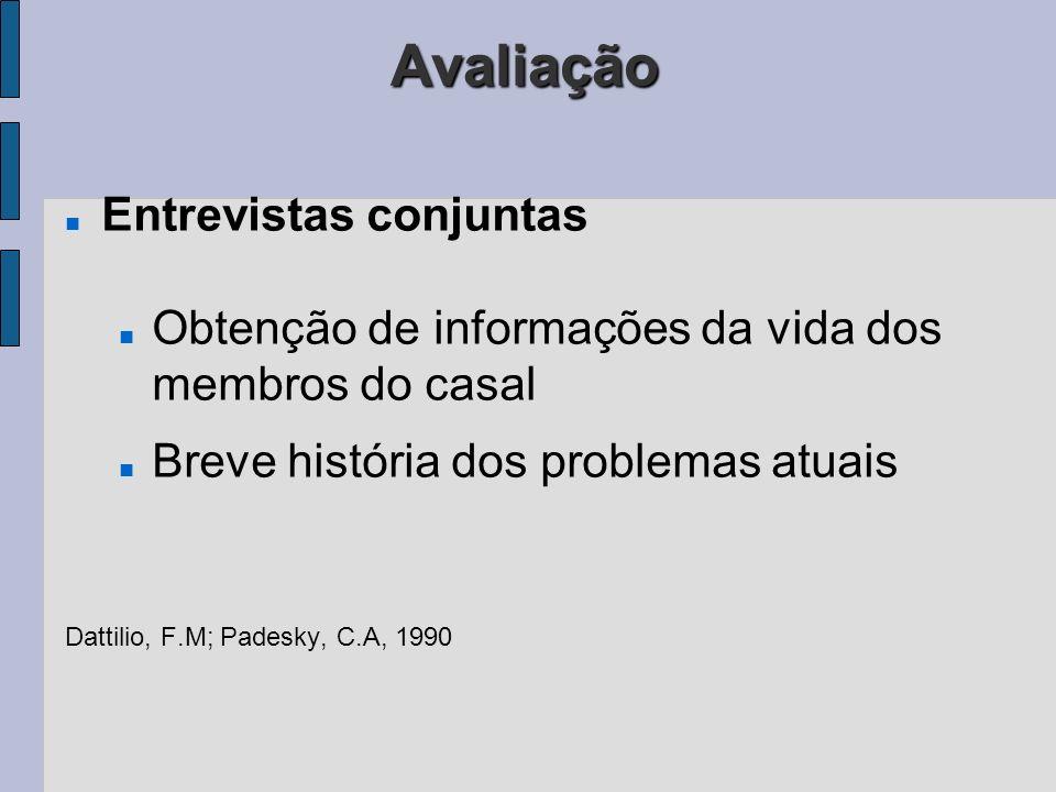 Avaliação Entrevistas conjuntas Obtenção de informações da vida dos membros do casal Breve história dos problemas atuais Dattilio, F.M; Padesky, C.A,