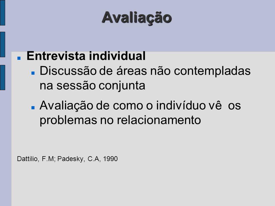 Avaliação Entrevista individual Discussão de áreas não contempladas na sessão conjunta Avaliação de como o indivíduo vê os problemas no relacionamento