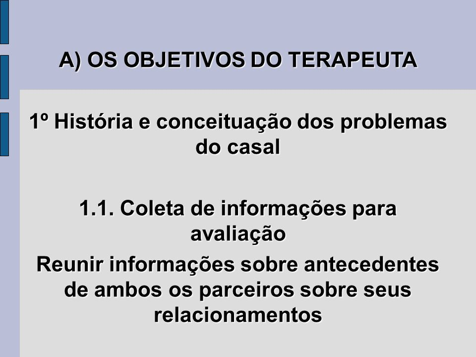 A) OS OBJETIVOS DO TERAPEUTA 1º História e conceituação dos problemas do casal 1.1. Coleta de informações para avaliação Reunir informações sobre ante