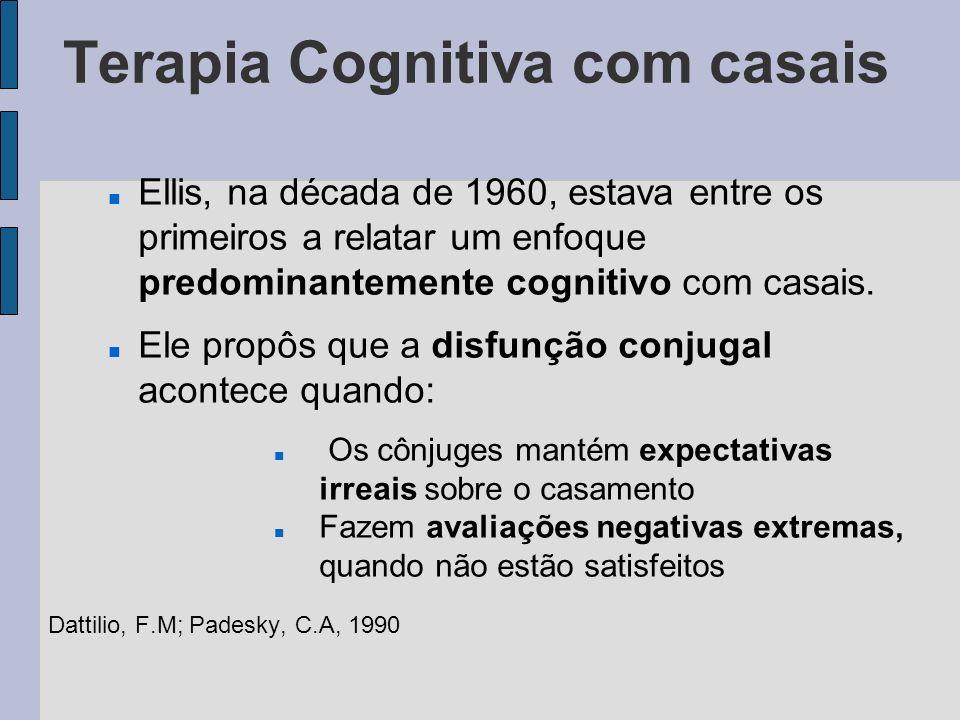 Terapia Cognitiva com casais A TC com casais possui 3 importantes facetas cognitivas: Modificação de expectativas irrealistas no relacionamento Correção de atribuições falhas nas interações do relacionamento Uso de procedimentos de auto-instrução para diminuir a interação destrutiva Dattilio, F.M; Padesky, C.A, 1990