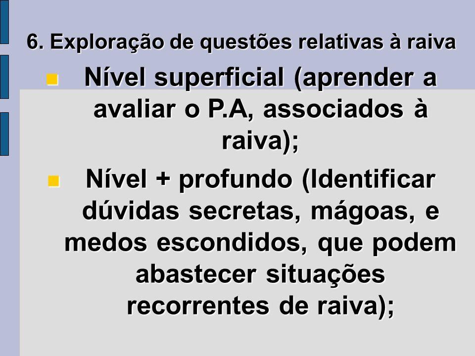 6. Exploração de questões relativas à raiva Nível superficial (aprender a avaliar o P.A, associados à raiva); Nível superficial (aprender a avaliar o