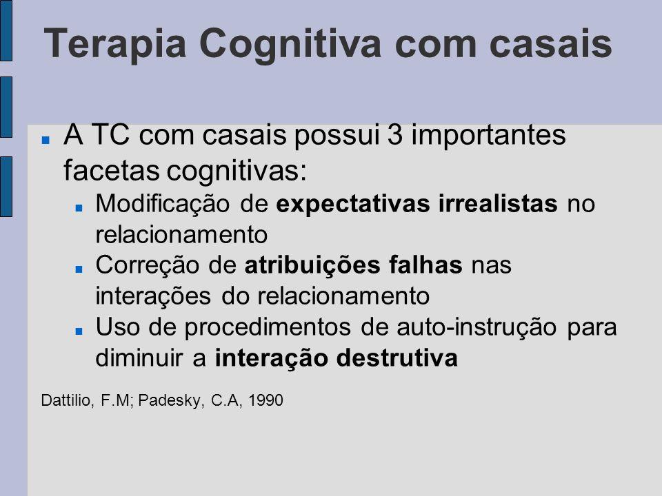 Terapia Cognitiva com casais A TC com casais possui 3 importantes facetas cognitivas: Modificação de expectativas irrealistas no relacionamento Correç