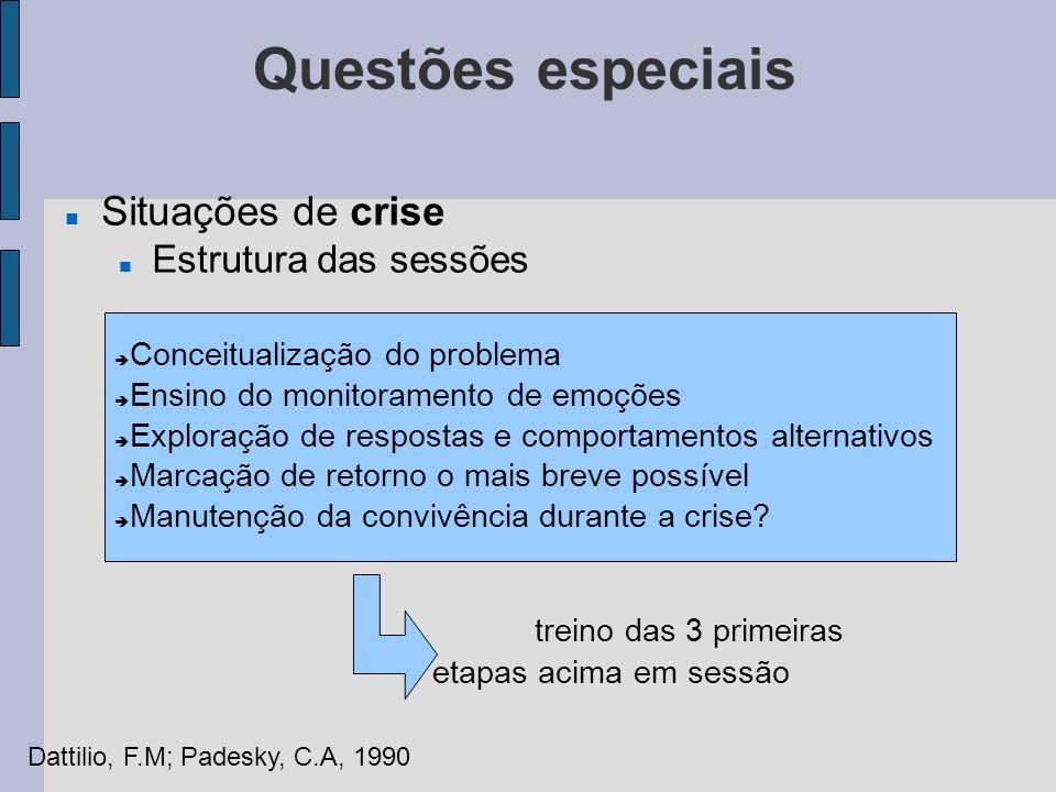 Questões especiais Situações de crise Estrutura das sessões Conceitualização do problema Ensino do monitoramento de emoções Exploração de respostas e
